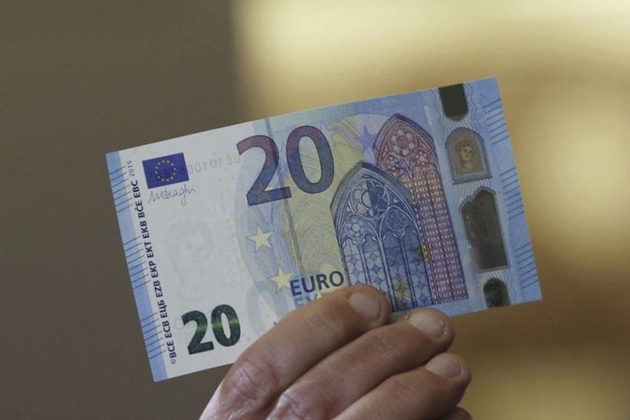 desain gambar uang euro terbaru pecahan 20