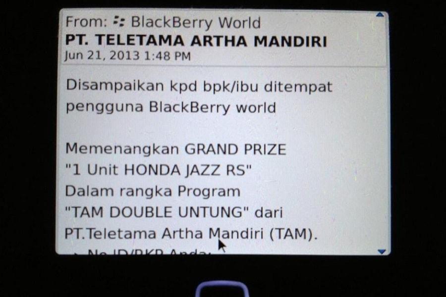SMS penipuan pemenang undian Untung Beliung Britama