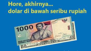 dolar Amerika di bawah seribu rupiah