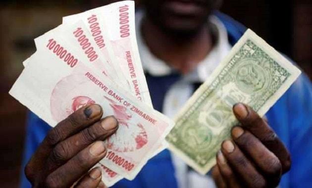 Harga kurs dolar Zimbabwe terhadap dolar Amerika Serikat