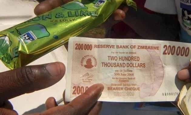 Harga es krim di Zimbabwe dua ratus ribu dolar