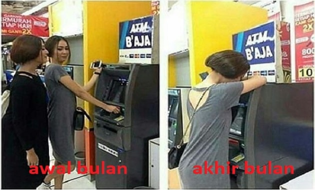 Meme tarik tunai di ATM awal bulan dan akhir bulan
